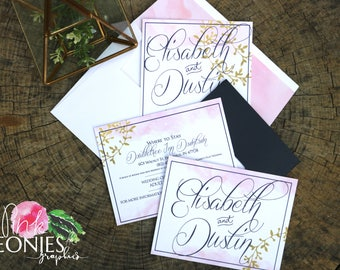 Pink Gold and Navy Invitations - Wedding Invitations