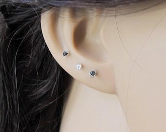 Tiny Sterling Silver 2mm Black CZ Stud Earrings, Cartilage Earring, tiny stud earrings,