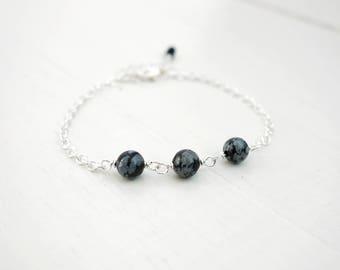 Snowflake obsidian bracelet minimalist chain bracelet grey black stone bracelet layering bracelet for women