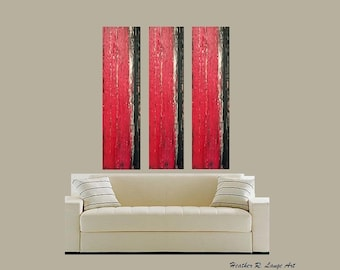 Triptych Abstract Canvas Wall Painting Original Textured Modern House Home Black Red Metal Made To Order