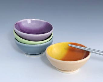 Small Ceramic Bowl, Ceramic Sauce Bowl, One Porcelain Soy Sauce Dish, Orange Ombré Sauce Bowl, Ceramic Ring Dish, Wheel Thrown Pottery Bowl