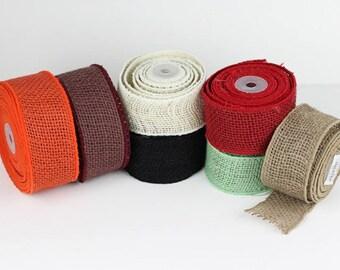 "10 Yds - 2"" Wired Edge Burlap Ribbon - Super-Fine Weave - Premium Natural Jute Burlap - Selvage Finished Edges - Choose Colors"