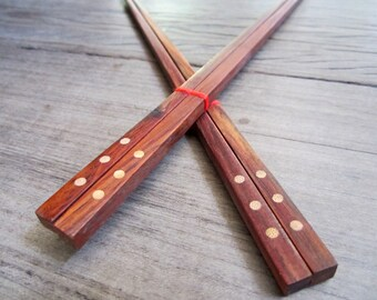 2 Pairs Wooden chopsticks unique & high quality 100% handmade design