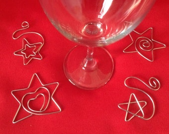Magical Star Wine Charms-Set of 4- Star, Loving Star, Star in Star and Swirling Star