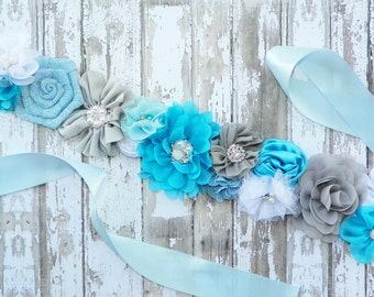 Blue Grey Sash, Blue Maternity Sash, Gender Reveal, Mom to Be, Baby Shower Sash, Its a Boy, Pregnancy Sash, Maternity Photos, Belly Band