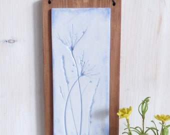Wild Plants, Blue Textured Hanging Plaque
