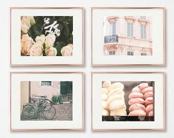 Nursery Wall Art // French Nursery Decor // Gallery Wall Prints // Paris Photography // Pink Wall Art // Nursery Art // Set of 4 Prints