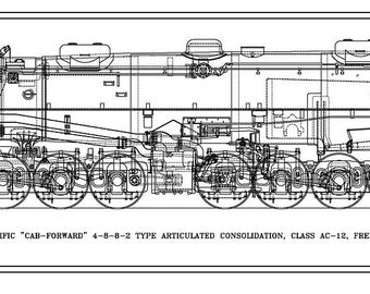 """Southern Pacific Class AC-12 """"Cab-Forward"""" 4-8-8-2 Type Locomotive Drawing - Side View"""