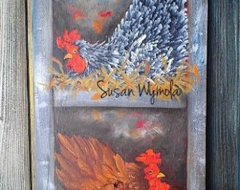 """11"""" X 22"""" #406 Chickens in Nest Original Art hand painted Acrylics"""