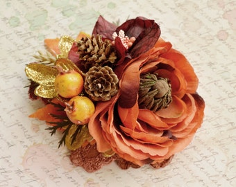 Fall hair piece, Bridal headpiece, Rustic wedding flower, Autumn wedding headpiece, Gold Burnt orange hair flower, Pinecone hair piece
