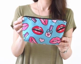 "Lips Print Zippered Cosmetic Bag, Make-up Bag, Toiletry Bag, Pouch - 8"" x 5.5"""