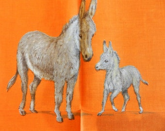 Donkey Orange 1970's Vintage Unused LAMONT  Linen Tea Towel
