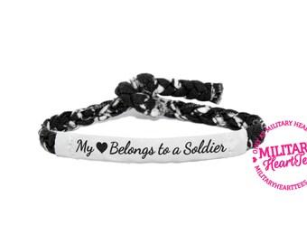 My Heart Belongs to a Soldier Custom Military Support Bracelet -  Soldier Wife, Girlfriend, Fiance