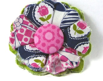 Fabric Flower Pin, Fabric Flower Brooch, raw edge flower