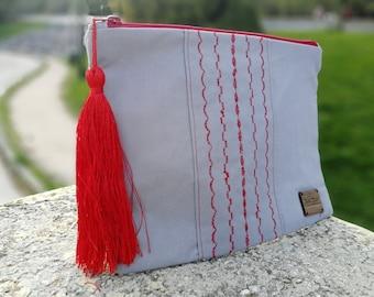 Canvas Clutch,Handmade Bag,Handbag,Summer Bag, Bohostyle,Gray Handbag, Embroidered bag