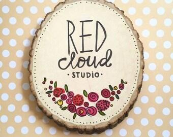 wood slice sign / hand lettered wall hanging / etsy shop logo / business sign / maker gift sign.