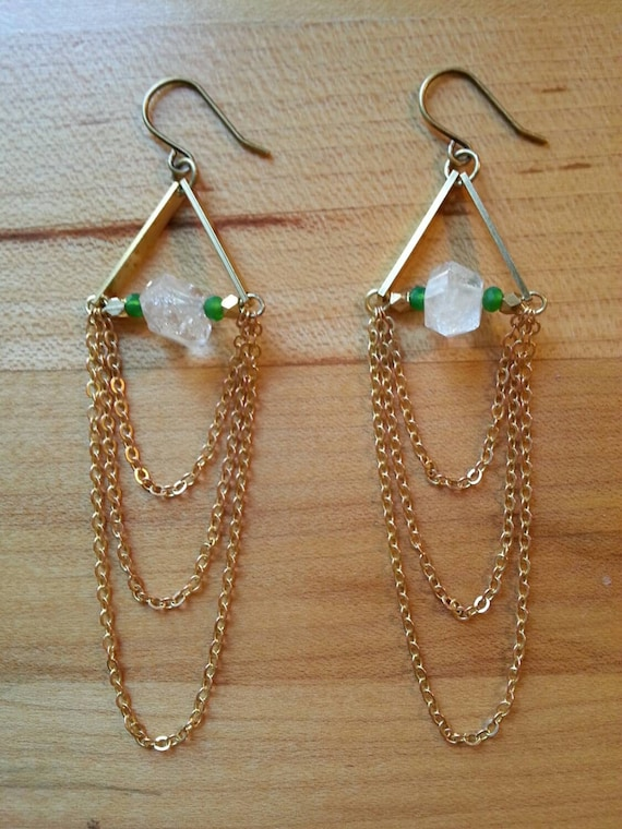 Raw brass bars with chain draped herkimer diamonds and green Czech glass beads