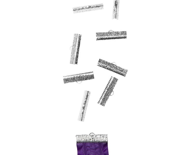 50 pieces  25mm  (1 inch)  Platinum Silver Ribbon Clamp End Crimps - Artisan Series