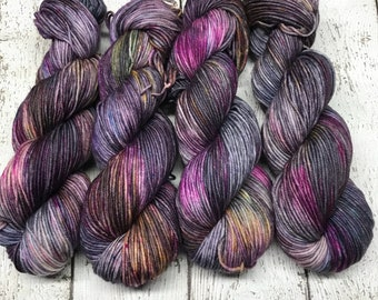 Trevor Morgan DK, Hand Dyed Yarn, DK weight, Superwash Merino, Number 3, 8 ply, Hand dyed, Light Worsted, Tequila Blackout
