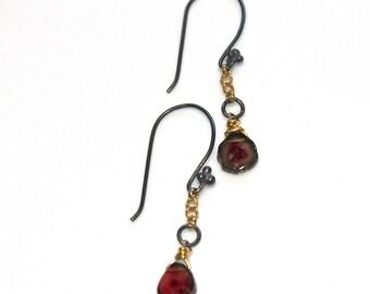 Delicate Earrings Watermelon Tourmaline Slice Earrings Oxidized Earrings Everyday Jewelry Mixed Metal Tourmaline Jewelry