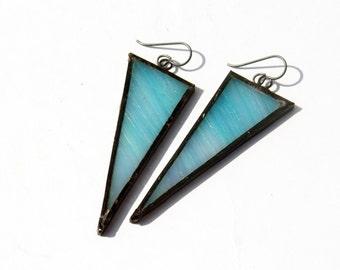 EARRINGS -  Blue Iridescent Triangle Earrings - Stained Glass Earrings