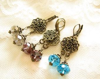 Drop earrings Blue Purple Gray earrings Wedding Bridal Bridesmaid earrings Birthday gift for wife Bronze Edwardian earrings Ornate earrings