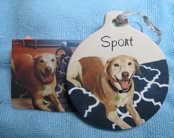 Pet Portrait Ceramic Memorial Ornament Hand Painted and Made to Order Ceramic by Pigatopia