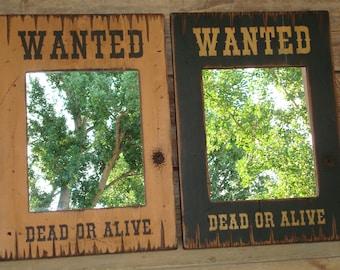 Rustic wood mirror, Wanted mirror, Western mirror, Rectangle mirror, Wall mirror,