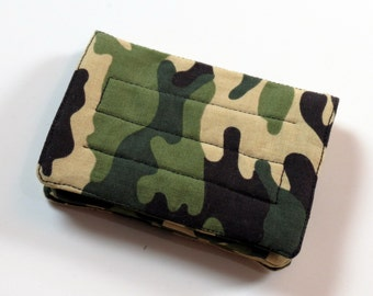 Mini Wallet - Camo - fabric (with Credit Card slots and zipper Coin pocket)