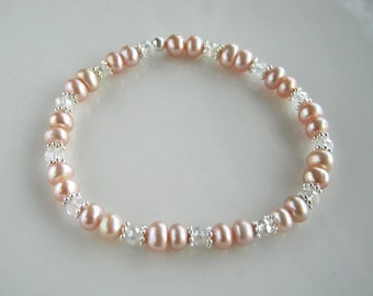 Crystal and Pink Freshwater Pearl Stretch Bracelet Pink Pearl Stacking Bracelet
