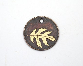 Copper oak leaf charm, fall, small flat round handmade etched jewelry supply, 22mm