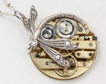 Silver Dragonfly Necklace with Antique Gold Pocket Watch Movement, Art Nouveau Dragonfly Pendant, Statement Necklace, Steampunk Jewelry 2964