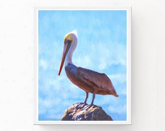 Pelican Print - Beach Home Decor, Digital Download, Pelican Art Print, Nursery Wall Art, Printable Art, Baby Blue Art, Nursery Wall Decor
