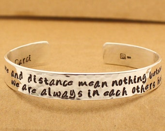 Couples Gift Mother Daughter Gift -Sterling Silver Bracelet - Time and Distance mean nothing between us,maybe in distance but never in heart