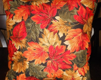 Large Autumn Leaves Pillow, 14 X 14 Decorative Pillow
