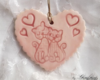 Romantic heart ceramic cats in love, pastel pink
