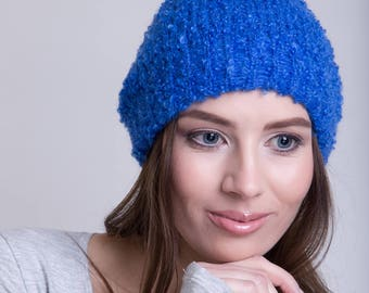 Knitted Mohair Beanie in Royal Blue