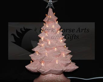 Pink Ceramic Christmas Tree w/ Music Box 19 in