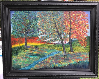 Seasons, Oil painting , modern trees, colorful
