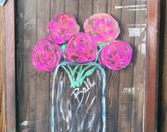 Paintings on old windows. Available and made to order