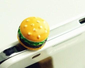 Hamburger Cell Phone Dust Plug/Deco. Phone bling/accessory.  Cell phone dust plug.