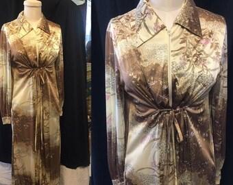 35% Off Sale Mod floral maxi hostess dress small medium retro swimsuit cover up