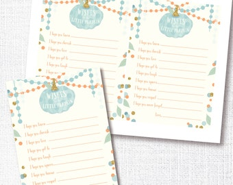 A little pumpkin is on his way - Wishes For Baby boy fall shower game - blue pumpkin wishes for baby advice card - instant digital download