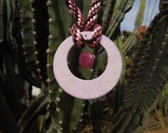 Kumihimo necklace pink