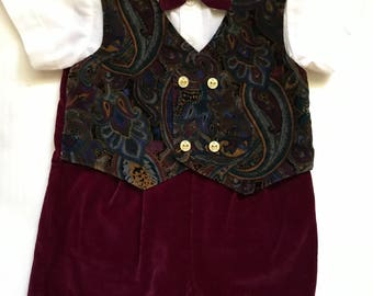 Boys Velour Vested Romper