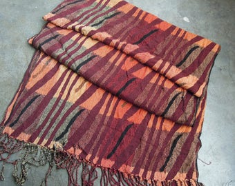 Beautiful Abstract Zebra Stripe Colorblock African Inspired Warm Long Shawl Scarf Fringed Muffler Pashmina Acrylic