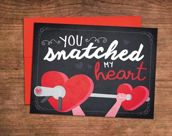 Weightlifting Valentines Day Card - Crossfit Love Greeting Card - Perfect for Husband, Wife, Boyfriend, Girlfriend