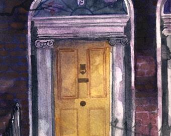 Aquarell Dublin georgischen Tür #2 Print 5 x 7