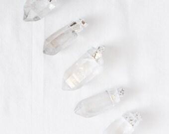 Quartz Point Pendant - Silver Plated - Dipped Quartz - Jewelry Supplies - Wholesale - Bulk - Crystal Quartz Point Bulk Pendants / S-SP001