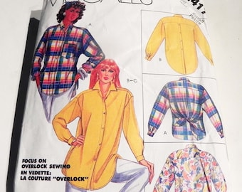 1980s Oversized Blouse Shirt back button Collar Tied back yoke sewing pattern McCalls 2417 Size Small 10 12 Bust 32.5 34""